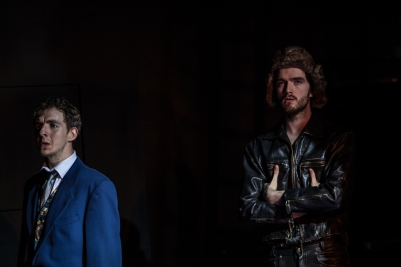 Rory Dignam (Steward) and Corrin Thomas (Wolf) in Into the Woods. Photo by Keith Dixon.