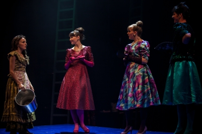 Katie Honan (Cinderella), Vanessa Emme (Florinda), Hannah Carnegie (Lucinda) and Liam Heslin (Stepmother) in Into the Woods. Photo by Keith Dixon.