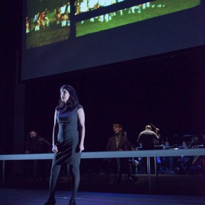 Zorana Sadiq (soprano) in air india [redacted]. Photos by Chris Randle/Turning Point Ensemble.