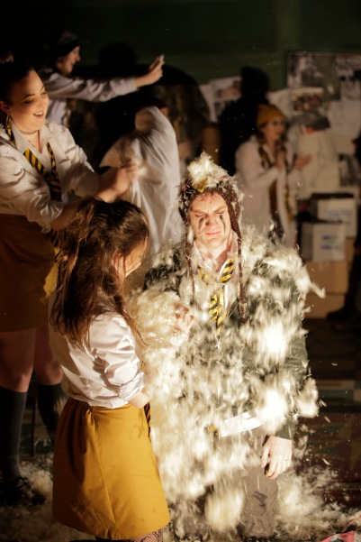 Peter Manning (Papageno) and Ensemble in Die Zauberflöte (The Magic Flute). Photo by Colm Hogan.