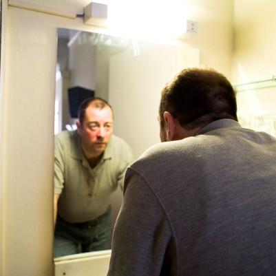 Philip Judge (Older Man) in Trade. Photo by Fiona Morgan.