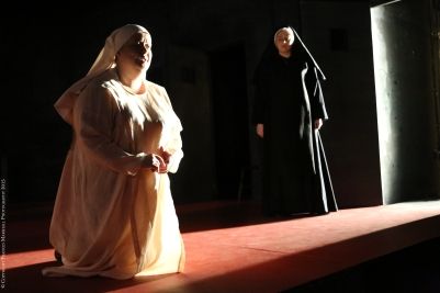 Rebecca Rodgers (Angelica) and Carla Snow (La Badessa) in Suor Angelica. Photo by Frances Marshall.