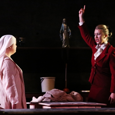 Rebecca Rodgers (Suor Angelica) and Carolyn Holt (La Zita Principessa) in Suor Angelica. Photo by Frances Marshall.