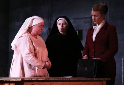 Rebecca Rodgers (Suor Angelica), Carla Snow (La Badessa) and Carolyn Holt (La Zita Principessa) in Suor Angelica. Photo by Frances Marshall.