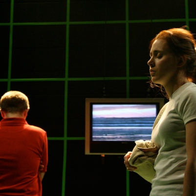 Joe Roch (Ed) and Megan Riordan (Dora) in The Coming World. Photo by Mick Cullinan.