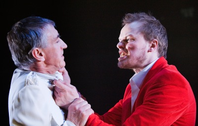 Barry McGovern (Clotaldo) and Paul Reid (Segismundo) in Life is a Dream. Photo by Ros Kavanagh.