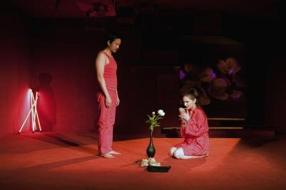 Orion Lee (Hideo) and Alicja Ayres (Ioana) in Shibari. Photo by Fiona Morgan.