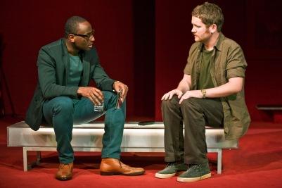 Michael Yare (Nick) and Ian Lloyd Anderson (Liam) in Shibari. Photo by Fiona Morgan.