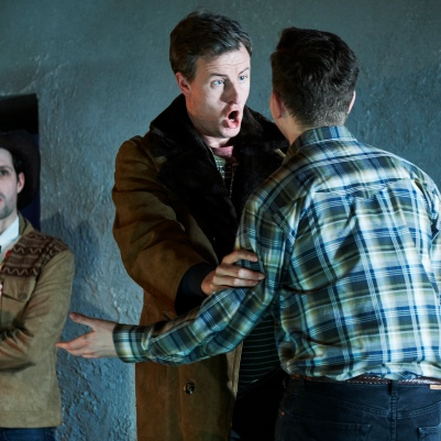 Fearghal Curtis (Ensemble), Eamonn Mulhall (Acis) and Andrew Gavin (Damon) in Acis and Galatea. Photo by Ros Kavanagh.