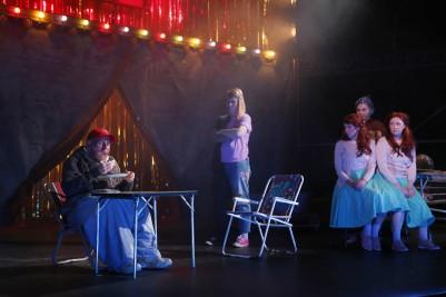 Gerard Byrne (Tiny), Amy Conroy (George/Georgina), Julie Sharkey (Lillie) and Gillian McCarthy (Millie) in Futureproof. Photo by Miki Barlok.