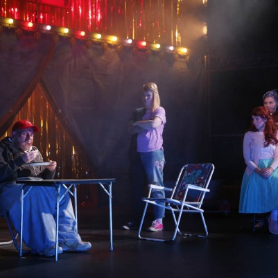 Gerard Byrne (Tiny), Amy Conroy (George/Georgina), Julie Sharkey (Lillie) and Gillian McCarthy (Millie) in Futureproof. Photo by Miki Barlok.