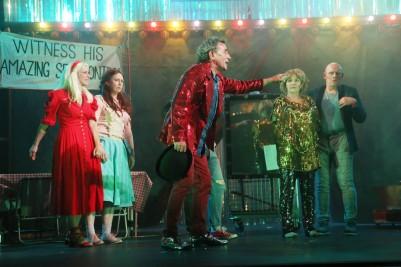 Julie Sharkey (Lillie), Gillian McCarthy (Millie), Michael Glenn Murphy (Riley), Gina Moxley (Marketa) and Gerard Byrne (Tiny) in Futureproof. Photo by Miki Barlok.