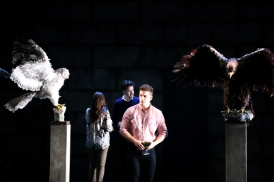 Rachel Croash (Mrs Coyle), Christopher Cull (Spencer Coyle) and Peter O'Reilly (Lechmere) in Owen Wingrave (Opera Collective Ireland). Photo by Frances Marshall.