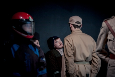 Domhnall Herdman and ensemble in The Caucasian Chalk Circle. Photo by Keith Dixon.