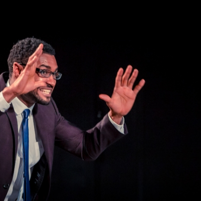 David Fawaz (First Architect) in The Caucasian Chalk Circle. Photo by Keith Dixon.