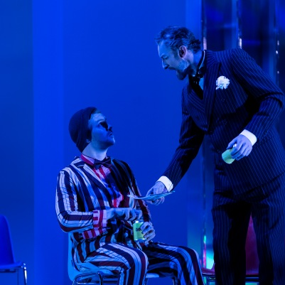 Andrew Gavin (Andrès) and John Molloy (Lindorf) in The Tales of Hoffmann. Photo by Pat Redmond.