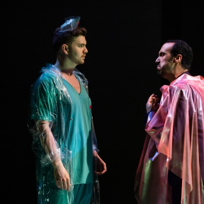 Andrew Gavin (Frantz) and Brendan Collins (Crespel) in The Tales of Hoffmann. Photo by Pat Redmond.