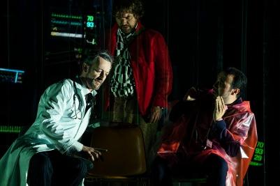 John Molloy (Dr Miracle), Julian Hubbard (Hoffmann) and Brendan Collins (Crespel) in The Tales of Hoffmann. Photo by Pat Redmond.