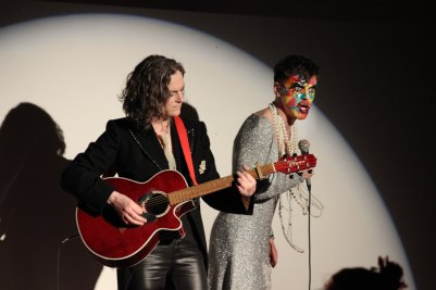 Lady K (Kiera Gannon) and Stephen Quinn (Stefan Fae) in Overfired. Photo by Carla Rogers.