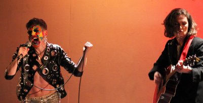 Stephen Quinn (Stefan Fae) and Kiera Gannon (Lady K) in Overfired. Photo by Carla Rogers.